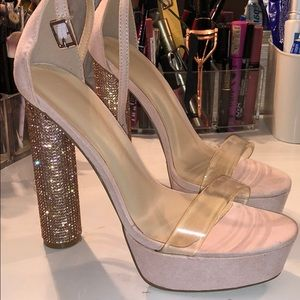 FashionNova Rose Gold Sparkly Heels